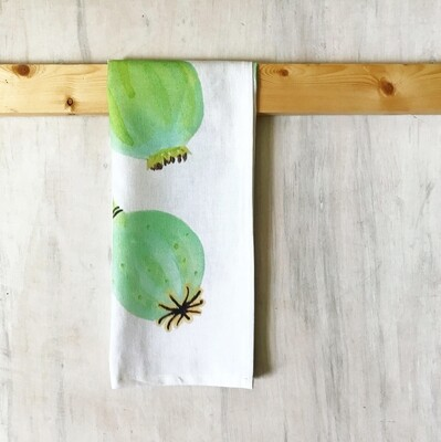 Tea Towel:  Poppy Pods on Ecru