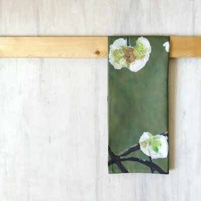 Tea Towel:  White Flowers on Green