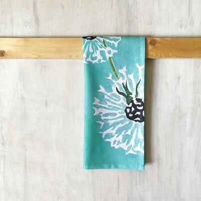 Tea Towel:  Dandelions on Aqua