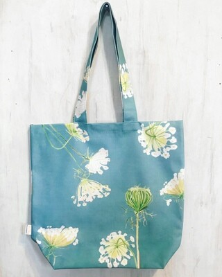 Tote Bag:  Queen Anne's Lace on Teal