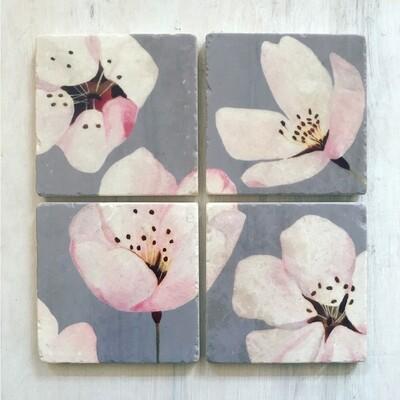 Coaster Set: Cherry Blossoms on Grey