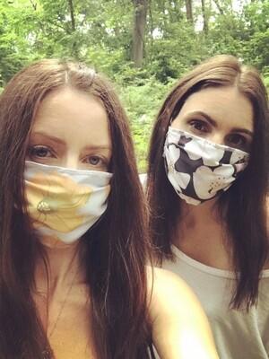 Face Mask:  Pumpkin Flowers on Grey
