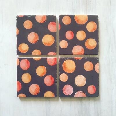 Coaster Set:  Orange Circles on Brown