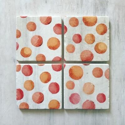 Coaster Set:  Orange Circles on Snow