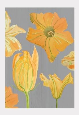 Art Print:  Pumpkin Flowers on Grey