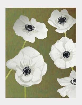 Art Print:  White Anemone on Green