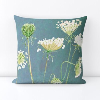 Throw Pillow:  Queen Anne's Lace on Teal