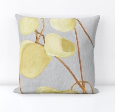 Throw Pillow:  Milkweed on Pale Grey