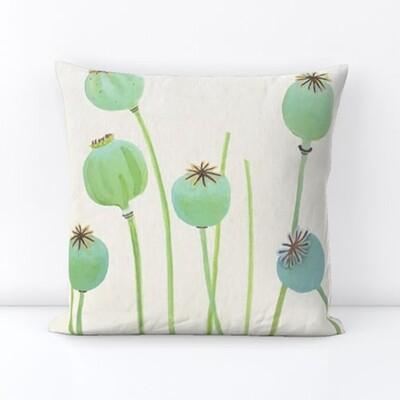 Throw Pillow:  Poppy Pods on Ecru