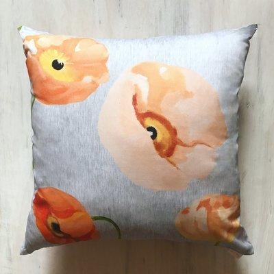 Throw Pillow:  Peach Poppies on Grey
