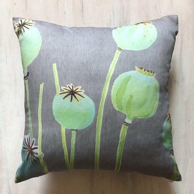 Throw Pillow:  Poppy Pods on Grey