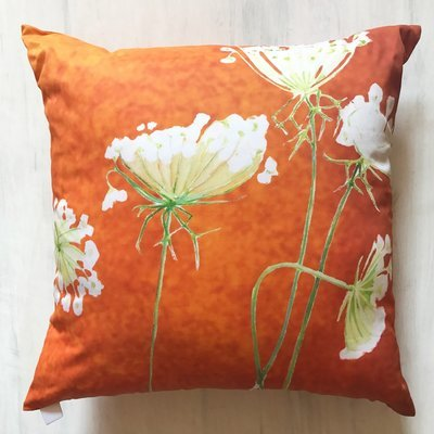 Throw Pillow:  Queen Anne's Lace on Rusty Orange