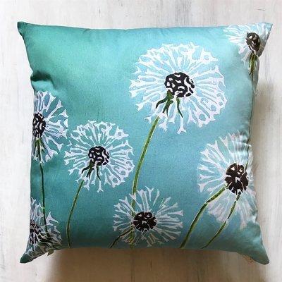 Throw Pillow:  Dandelions on Aqua