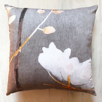 Throw Pillow:  Big White Flower on Medium Grey