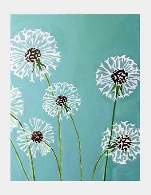 Art Print:  Dandelions on Aqua