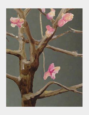 Art Print:  Tree with Pink Flowers on Dark Grey
