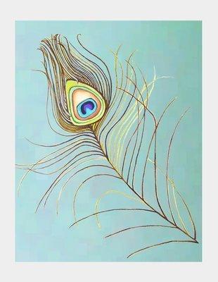 Art Print: Peacock Feather on Aqua