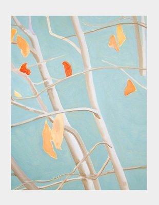 Art Print:  Tree with Orange Leaves on Blue Sky