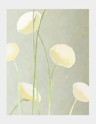 Print:  Cream Flowers on Mist