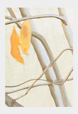 Art Print:  Orange Leaves on Ecru