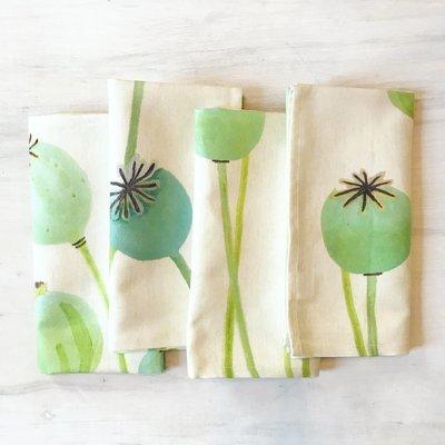 Napkin Set:  Poppy Pods on Ecru