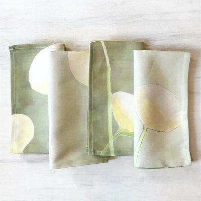 Napkin Set:  Cream Flowers on Mist