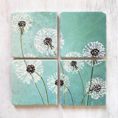 Coaster Set:  Dandelions on Aqua