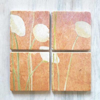Coaster Set:  Cream Flowers on Orange