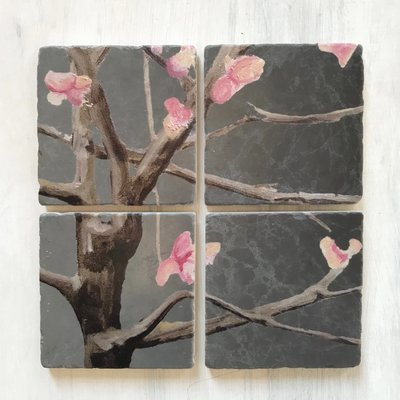 Coaster Set:  Tree with Pink Flowers on Dark Grey