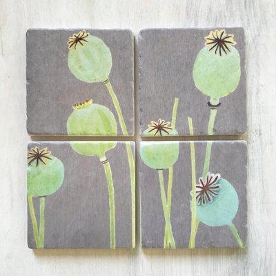 Coaster Set:  Poppy Pods on Grey