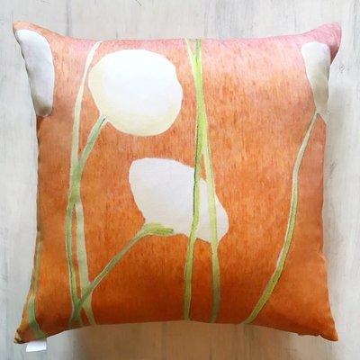 Throw Pillow:  Cream Flowers on Orange