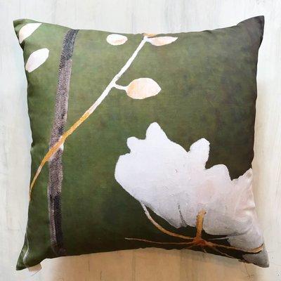 Throw Pillow:  Big White Flower on Green