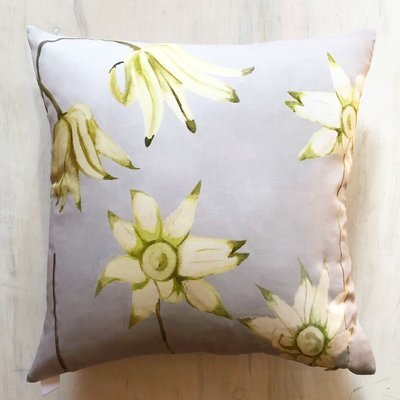 Throw Pillow:  Flannel Flowers on Grey