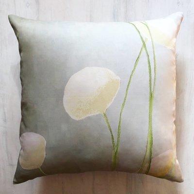 Throw Pillow:  Cream Flowers on Mist