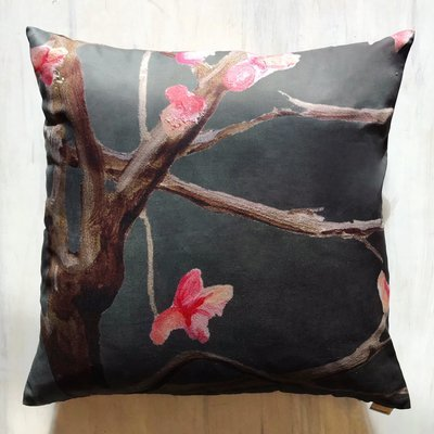 Throw Pillow:  Tree with Pink Flowers on Dark Grey