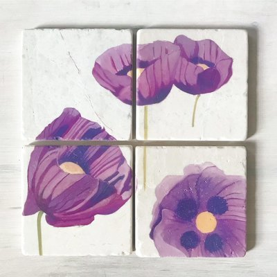 Coaster Set: Purple Poppies on Snow