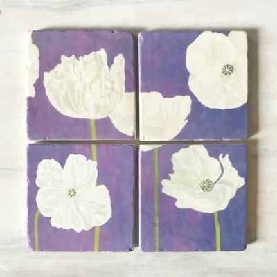 Coaster Set: White Poppies on Violet