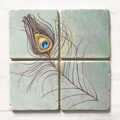 Coaster Set: Peacock Feather on Aqua