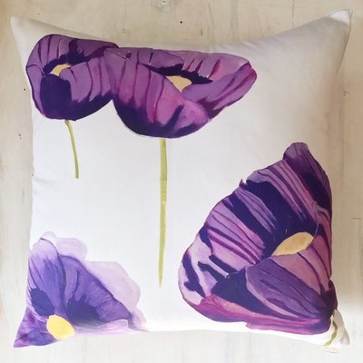 Throw Pillow:  Purple Poppies on Snow