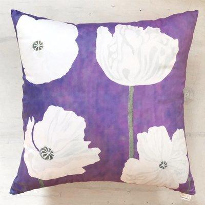 Throw Pillow:  White Poppies on Violet