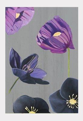 Art Print:  Purple Poppies & Black Hellebore on Grey