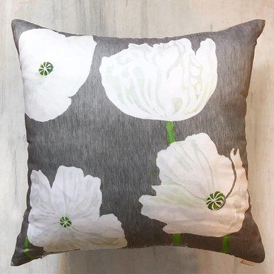 Throw Pillow:  White Poppies on Grey