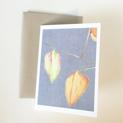 Three Lanterns on Grey Notecard