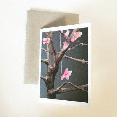 Tree with Pink Flowers on Dark Grey Notecard