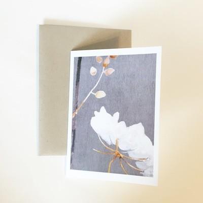 Big White Flower on Medium Grey Notecard