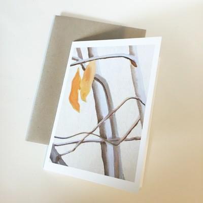 Orange Leaves on Ecru Notecard