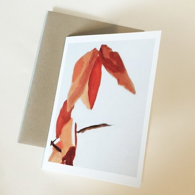 Rust Leaves on White Notecard