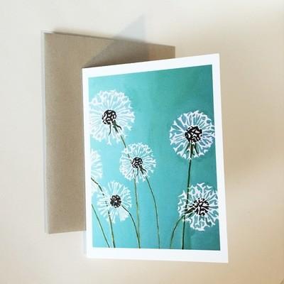 Dandelions on Aqua Notecard