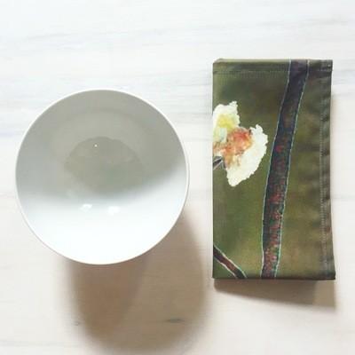 Napkin Set:  White Flowers on Green