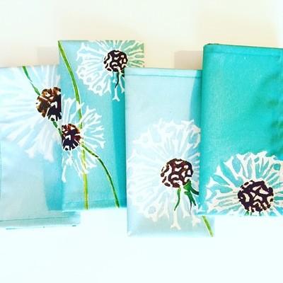 Napkin Set:  Dandelions on Aqua